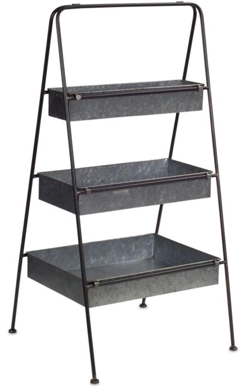 """Decorative Gray Rectangle Standing Indoor and Outdoor 36""""H Triple Floor Shelf"""