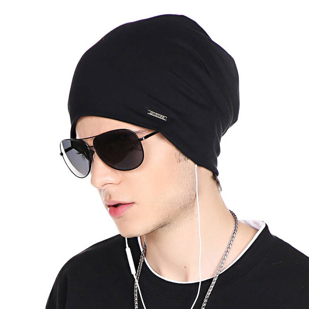 CACUSS Classical Teenager Baggy Skull Cap Thin Cotton Stretch Beanie Summer Sport Hat(Black)