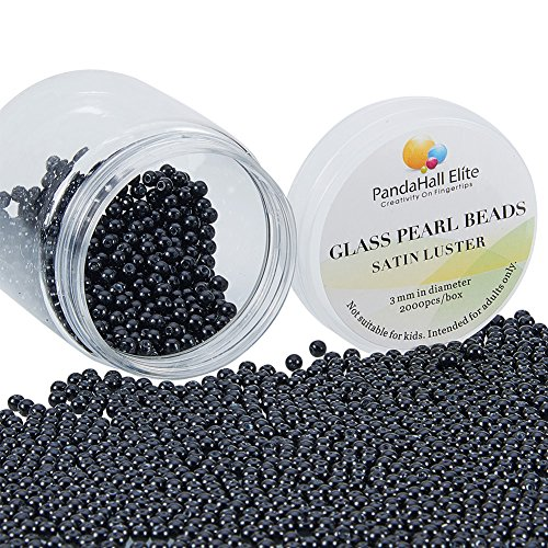 PandaHall Elite About 2000 Pcs 3~3.5mm Tiny Satin Luster Glass Pearl Bead Round Loose Spacer Beads for Jewelry Making Black