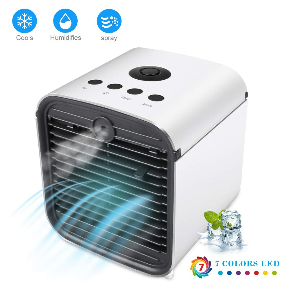 Onewell 2019 Portable Air Conditioner Fan,4 in1 Personal Mini Arctic Evaporative Air Cooler Desktop Cooling Fan with 7 Colors LED Backlight,Humidifier Zen Air Circulator Cooler for Home Office Bedroom