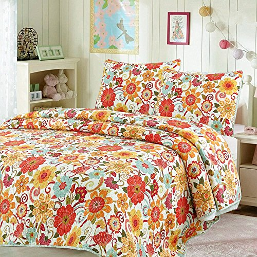 Cozy Line Home Fashions Astoria Bedding Quilt Set, Tropical Summer Orange Flowers Print Pattern 100% COTTON Reversible Coverlet Bedspread, Gifts for Kids, Little Girls(Sunny Flowers, Queen - 3 (Girls Flower Pattern)