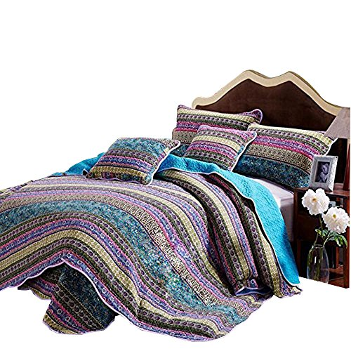 AMWAN Cotton Striped Boho Style Quilt Bedspread Set Queen Floral Print Quilt Set Full Luxury Vintage Quilt Coverlet Set 3 Piece Reversible Quilt Set 1 Quilt with 2 Pillow Shams (Floral Print Quilt)