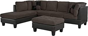 "Casa AndreaMilano 3-Piece Microfiber and Faux Leather Sofa and Ottoman Set, 102"" W, Coffee"
