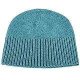 Love Cashmere Women's 100% Cashmere Ski Beanie Hat - Sky Blue - Handmade in Scotland by RRP 130