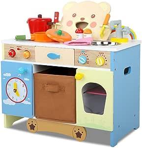 Kids Wooden Kitchen Play Set Pretend Toy Bear Children Cooking Toy with Extra Storage