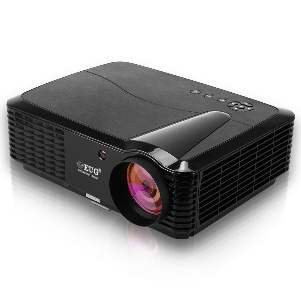 EUG 3500 Lumens LCD Digital Video Projector Support Full HD 1080P Multimedia Home Theater Outdoor Projectors HDMI-in Max 200'' Screen,Built in Speakers with Keystone for Computer Blu-ray DVD Player