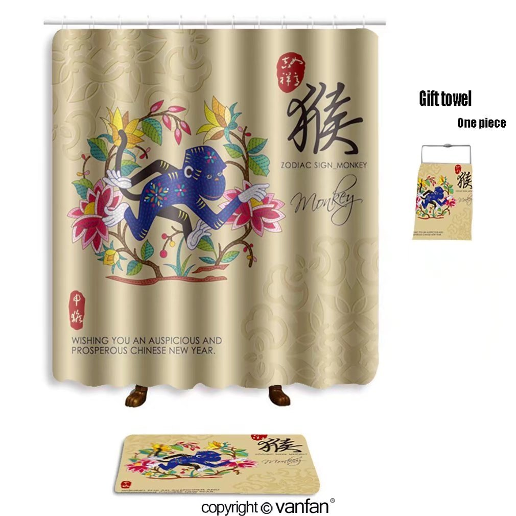 Vanfan Bath Sets With Polyester Rugs And Shower Curtain Chinese Zodiac  Signs Of Monkey With Chinese