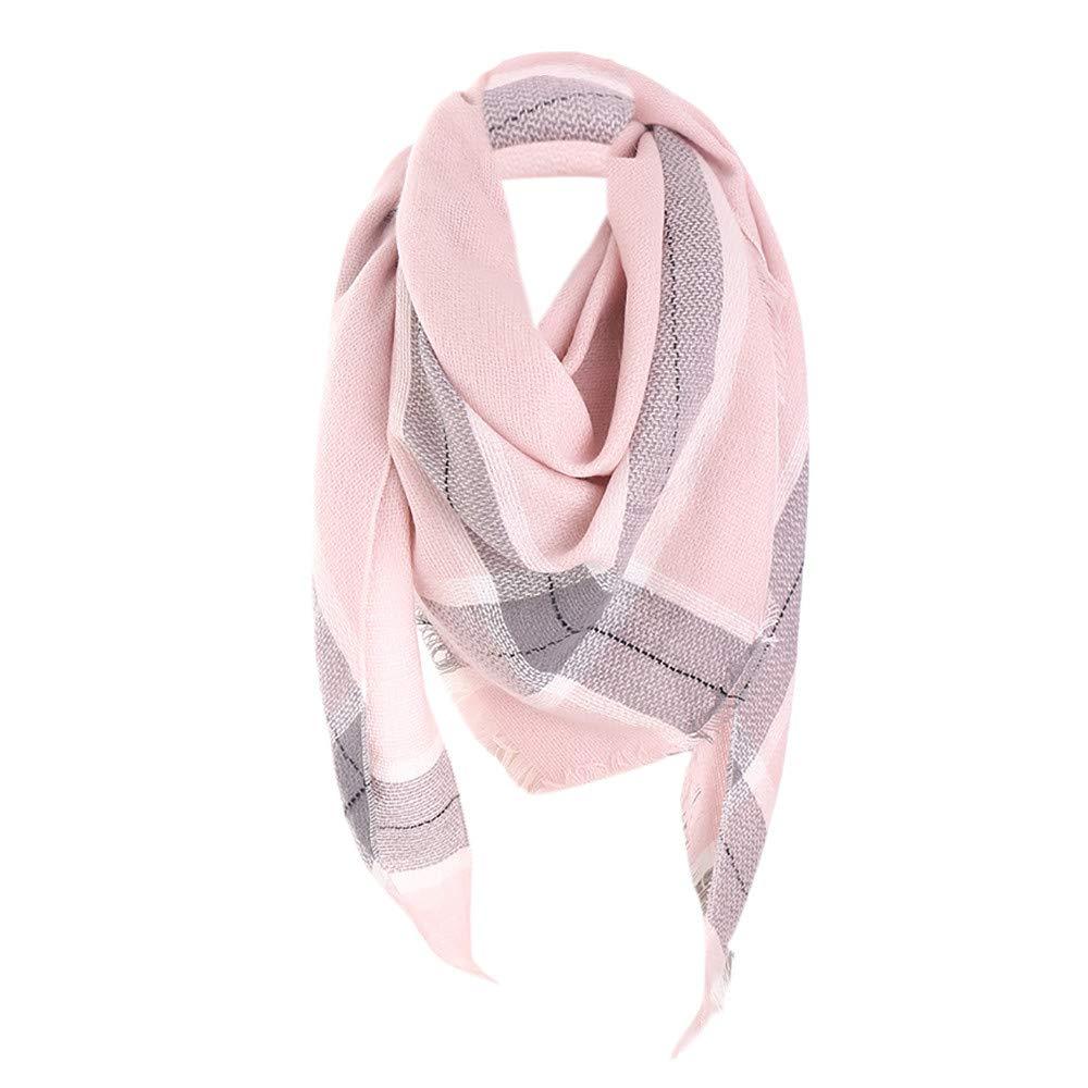 FarJing Women Winter Warm Wool Shawl Plaid Printed Soft Long Neck Scarf(Pink)