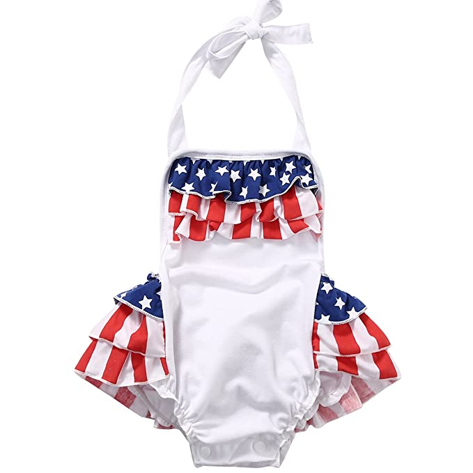 2aa1eefa74f EGELEXY Baby Girls American Flag Jumpsuits Kids Summer Clothes Toddle Girl  Cotton Romper Size 6-