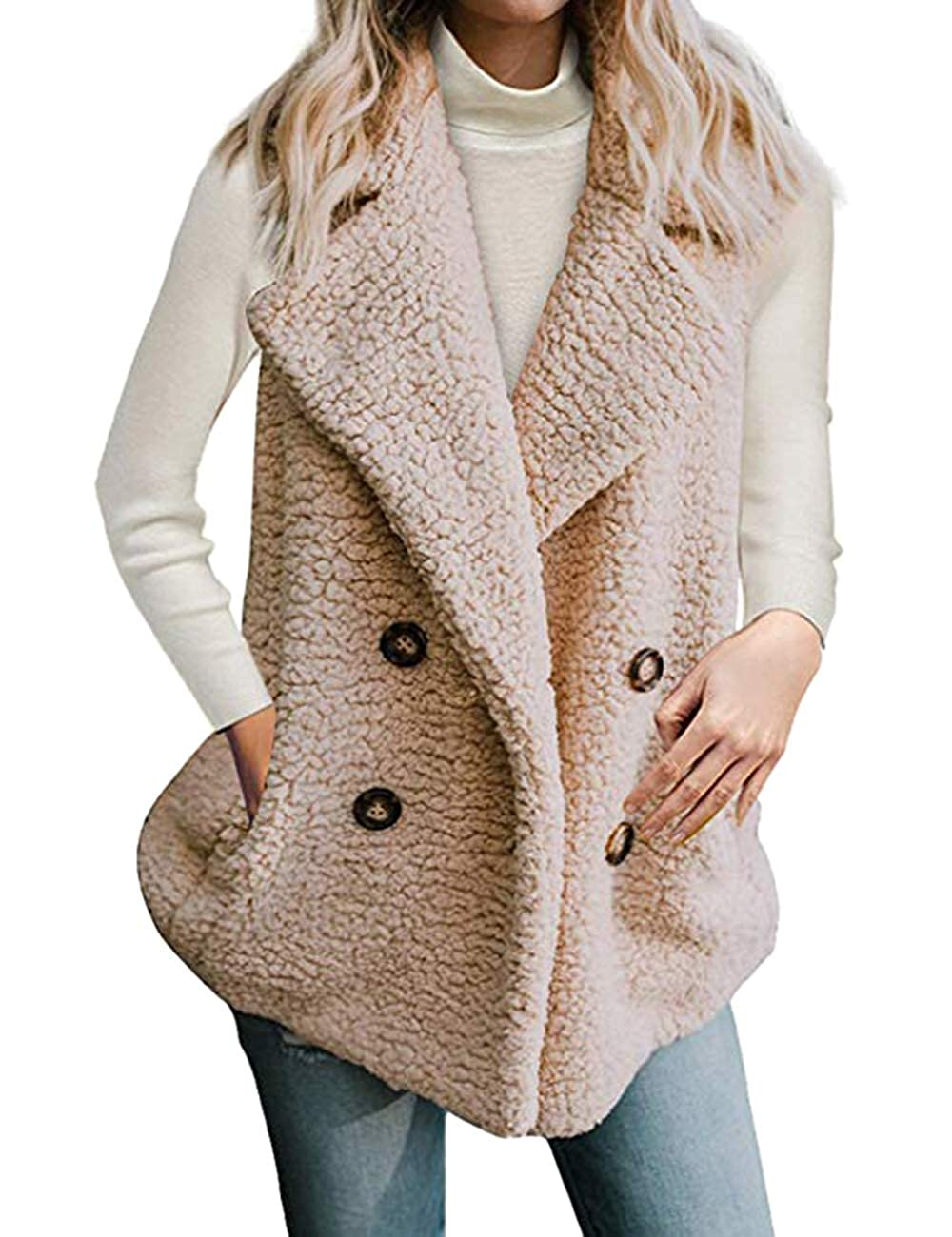 SEBOWEL Women Casual Vest Fuzzy Fleece Cardigan Pocket Sleeveless Outwear Jacket
