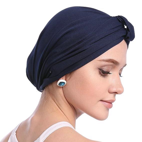 Mujeres Turbante Cap Color sólido de las mujeres Sencillo Modal Sombrero de  Turbante Caída del pelo Chemo Krebs Cap  Amazon.es  Ropa y accesorios d45b01fb8a7