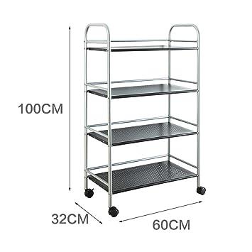 Estantería carrito de baño de cocina Metal almacenamiento rack estante con ruedas acabado accesorio de, acero al carbono, B: Amazon.es: Hogar