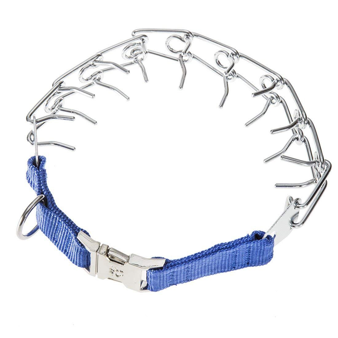 GAITY PET Dog Prong Collar Training Metal Gear Pinch Collar for Dogs, Stainless Steel with Silver Plating, Easy-On Plated Adjustable Training Dog Collar for Medium Large Dogs, Blue