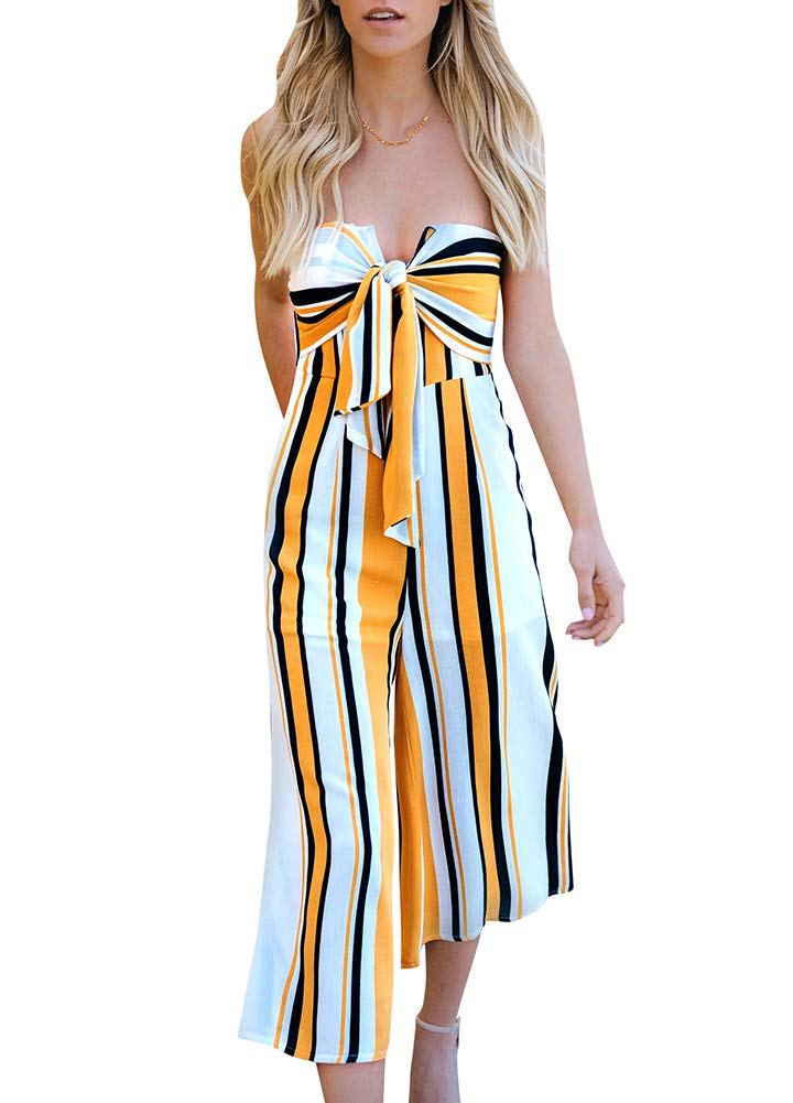 Romacci Women Strapless Jumpsuit Striped Print Sleeveless Bow Wide Leg Pants Off Shoulder Playsuit Rompers
