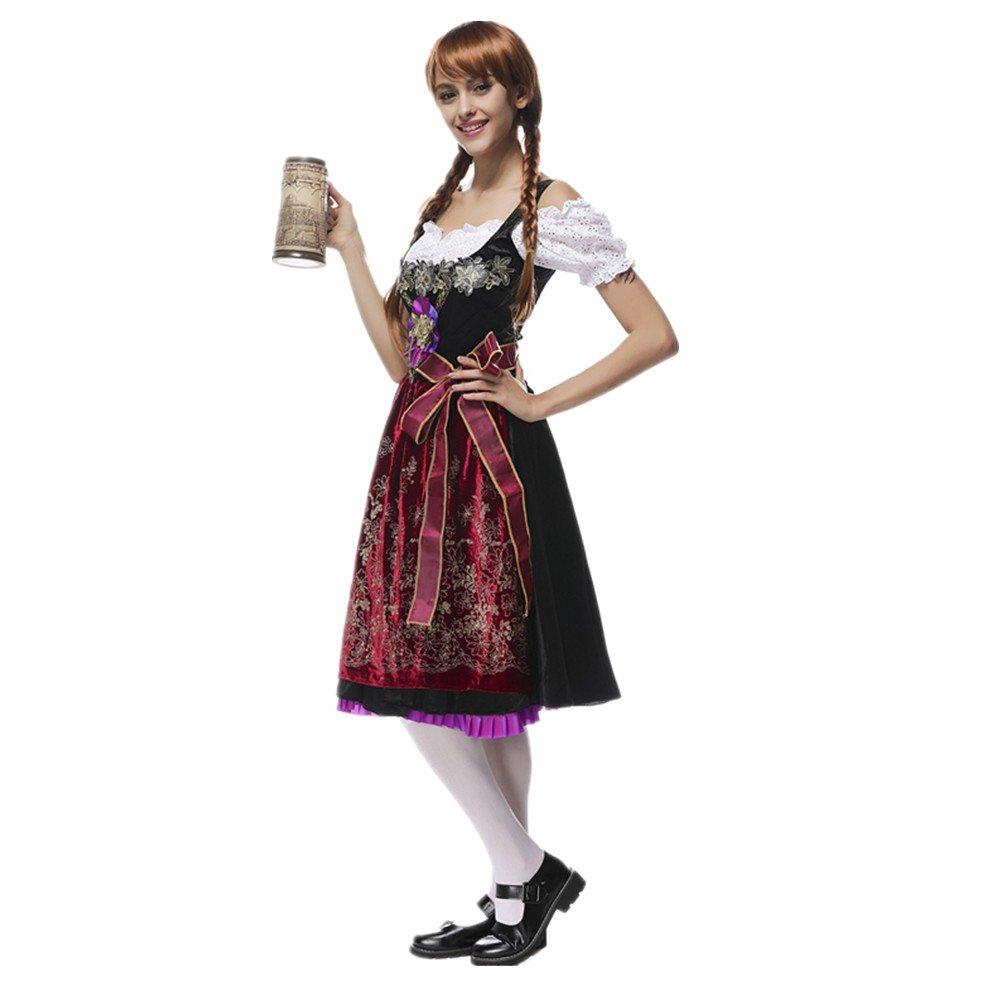 Prettycos Disfraz de bavara de Mujer Uniforme Vestido de Oktoberfest Traje Tradicional de Baviera Disfraz de Criada Cosplay para Halloween Carnaval ...