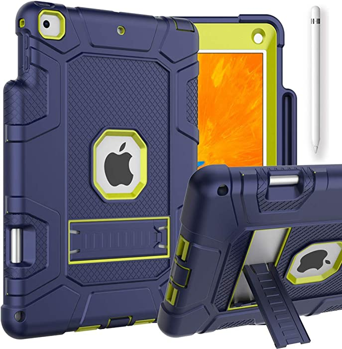 iPad 6th Generation Cases, iPad Case, iPad 9.7 Inch Case, Hybrid Shockproof Rugged Drop Protection Cover with Kickstand & Pencil Holder for iPad 9.7 inch A1893 / A1954 / A1822 / A1823 (Navy+Yellow)