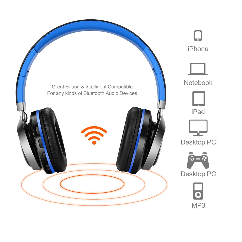 ... Foldable On ear Headphones with FM Radio, Microphone, TF Card Reader and LED lights for iPhone Android Mp3 Tablet, BT816 (Blue): Electronics