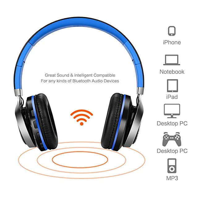 Amazon.com: Aita Bluetooth Headphones Wireless Headset, Foldable On ear Headphones with FM Radio, Microphone, TF Card Reader and LED lights for iPhone ...