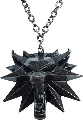 Orion Creations Le médaillon de Chasse Sauvage de Witcher 3. Loup Sauvage Noir.