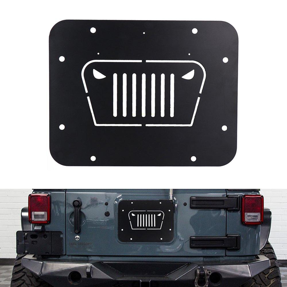 TOPPOWER ORF Black Steel Tailgate Vent-Plate Cover for Wrangler Spare tire Tramp Stamp tire Carrier Delete mild Steel kit fits 2007-2018 Wrangler JK//JKU