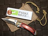 Parker River Classic Pocket Knife Personalized Engraved Gift Package (Red Grain Wood Handle)