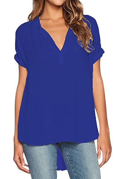 Dearlovers Women Solid V Neck Loose Fitting Chiffon Blouse Top Small Blue