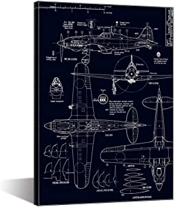 Biuteawal - Black and White Airplane Wall Art Plane Painting on Canvas Machine Manufacture Picture Modern Home Office Study Rroom Boys Room Wall Decoration Ready to Hang