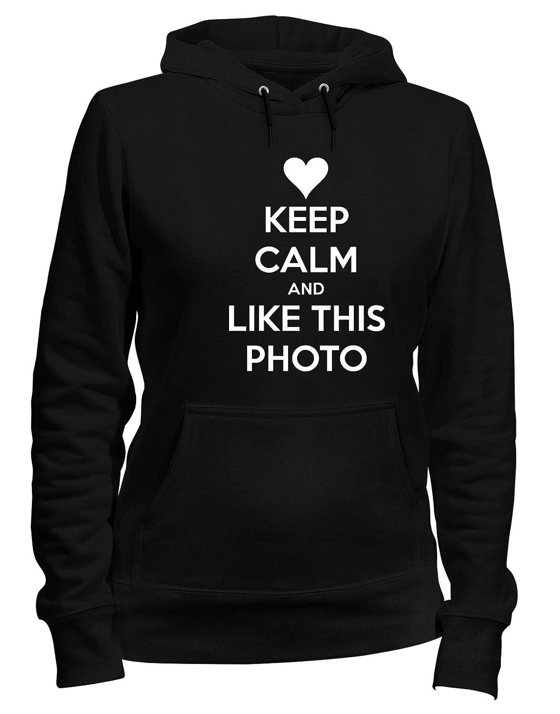 Speed Shirt Felpa Donna Cappuccio Nero TKC1029 Keep Calm And Like This Photo