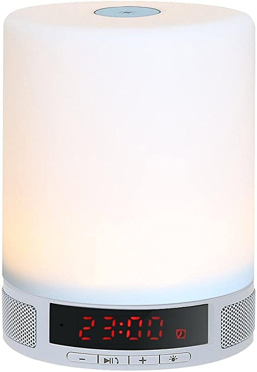 KOBWA Lámpara LED Altavoz Bluetooth,3 en 1 Portátil Inalámbrico ...