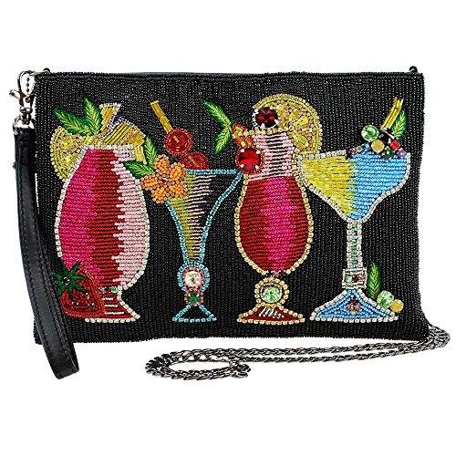 MARY FRANCES Drinks on Me Embellished Leather Cocktails Crossbody Wristlet Zip Top Handbag