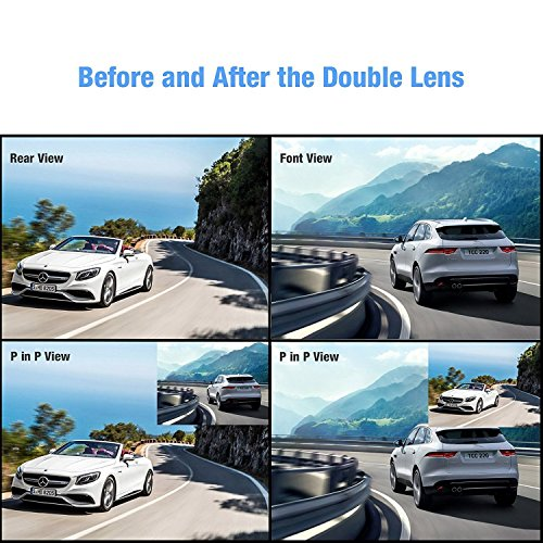 AUTO-VOX M2 1080P HD Dual Lens Rearview Mirror Dash Cam with Car Recorder and Reverse Parking System Car Rear View Backup Camera and 32GB Micro-SD Included