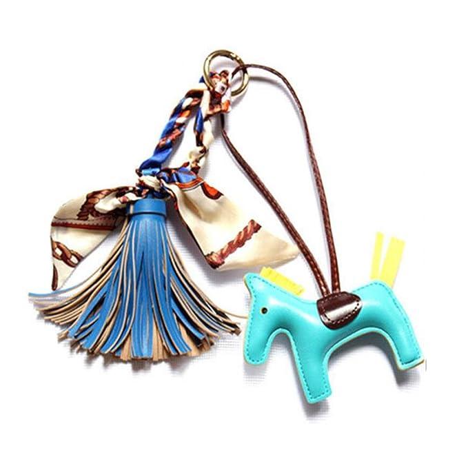 38f5e2728d3 DELIWAY Women Chic bowknot Scarves Tassel Handbag Ornaments Cute Pony Car  Keychain Decor (Blue)