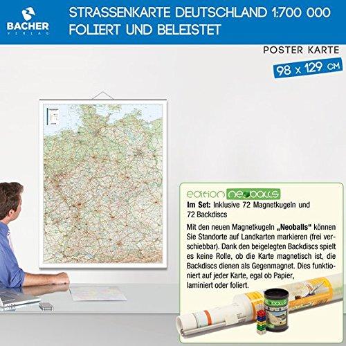 """Price comparison product image Straßenkarte foliert und beleistet,  Edition Neoballs ( 72 Magnetkugeln 5mm """"""""Neoballs"""""""",  Set 4 x 18 Stück (grün,  gelb,  blau,  rot) inkl. 72 Backdiscs)"""