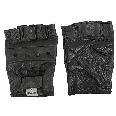 Texpeed Gants de moto style mitaine - cuir - noir - taille S à XXL ... a3461b8781b