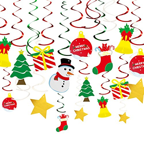 KUUQA 34 Pieces Christmas Hanging Swirl Decorations Kit Ceiling Swirl Decoration Christmas Tree Snowman Socks Gift Box Pentagram for Christmas Party Decoration
