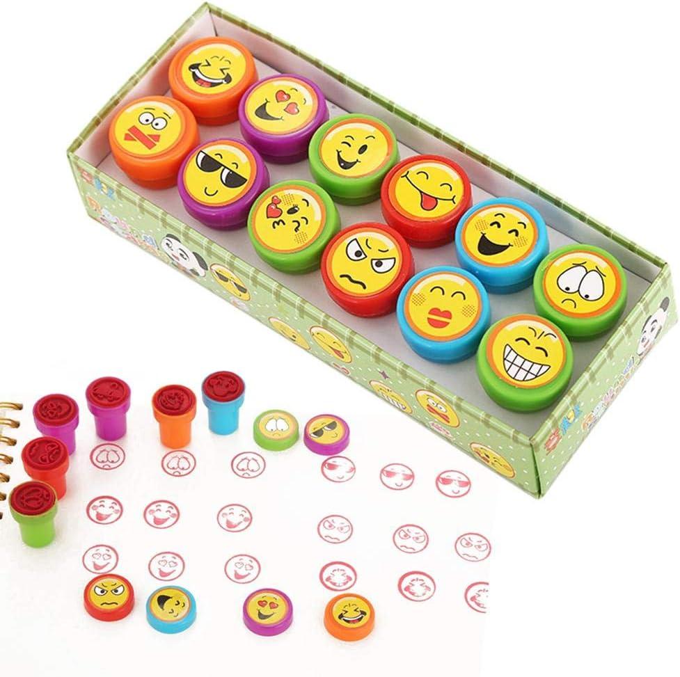G-wukeer Sello de los niños, Mini Smiley Seal Conjunto de Sello de Dibujos Animados de Juguete para niños-12PCS