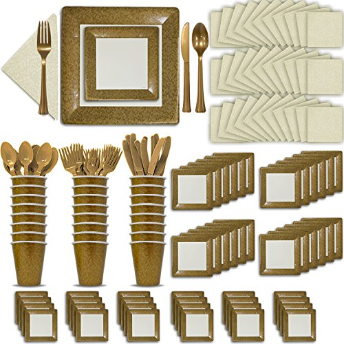 Fancy Disposable Gold & Ivory Dinnerware Set - 24 Guest - 2 Size Square Plates, Cups, Napkins, Spoons, Forks, Knives - Made of Heavyweight Paper - Posh Supplies, Elegant Design for Upscale Party]()