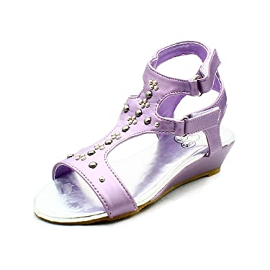 34fb0a2be79 Girls Childrens Lilac Studded Wedge Kitten Heel Sandals  Amazon.co.uk  Shoes    Bags
