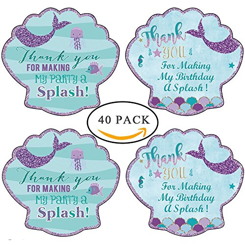 40pcs Birthday Bridal Mermaid Stickers Thank You Sea