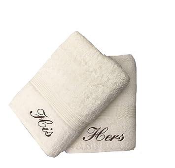 Bordado His & Hers Beige par de toallas de baño