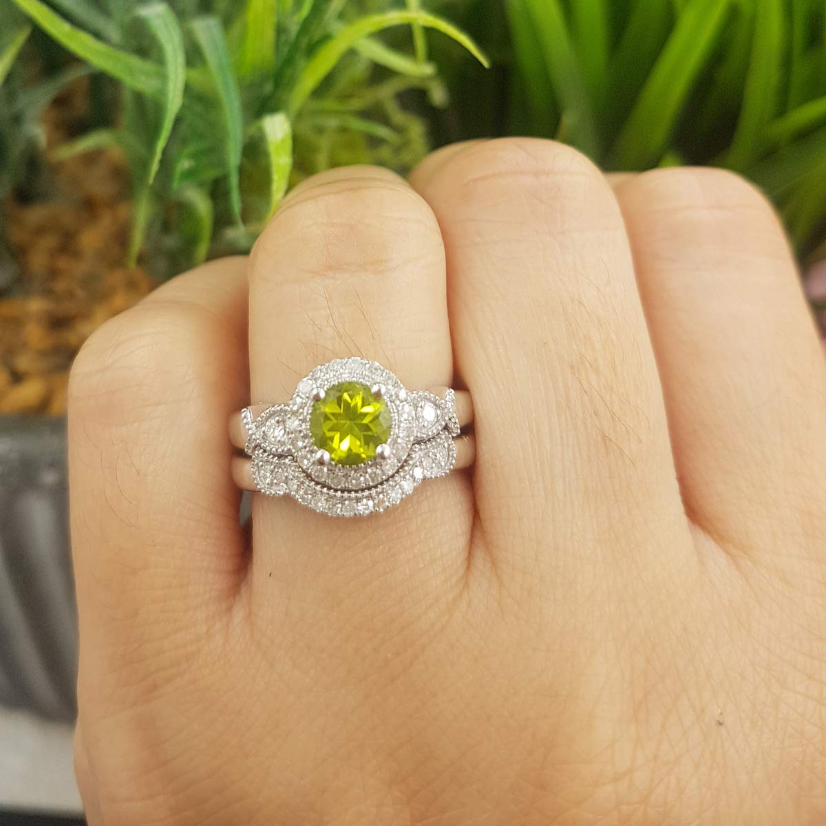 Dazzlingrock Collection 10K 6 MM Round Peridot & White Diamond Ladies Halo Engagement Ring Set, White Gold, Size 8 by Dazzlingrock Collection (Image #6)
