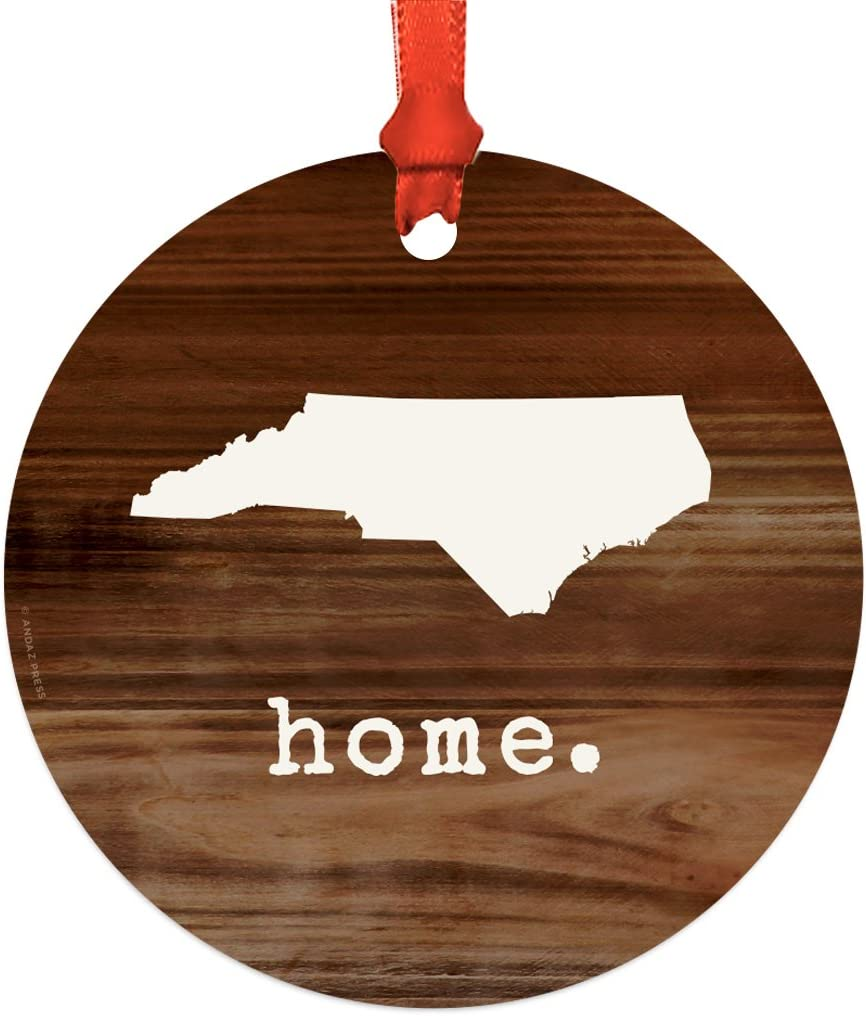 Andaz Press US State Round Metal Christmas Ornament, Rustic Wood Print, North Carolina, 1-Pack, Includes Ribbon and Gift Bag