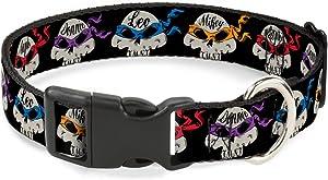 "Buckle-Down TMNT 4-Turtle Road Rebel Skulls Black Breakaway Cat Collar, 1/2"" x 9-15""/Large"