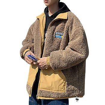 KOGARASI ボアジャケット メンズ リバーシブル ブルゾン 冬 起毛 フリース ジップアップ 暖かい スタンドカラー 防寒 防風 ハイネック 大きいサイズ 男女兼用 両面着