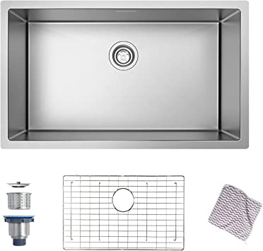 Kitchen Sink Mensarjor 30 X 18 Undermount Single Bowl Kitchen Sink 16 Gauge Stainless Steel Kitchen Sink Amazon Com
