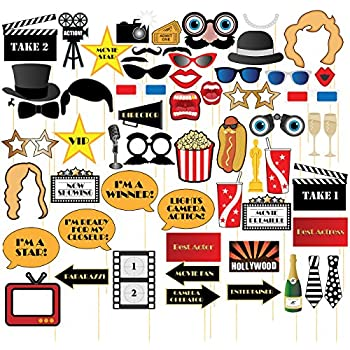 Amazon hollywood photo booth props kit 20 count toys games movie night photo booth props 60 pack hollywood party selfie photo props accessories birthday party supplies on bamboo sticks assorted designs solutioingenieria Images