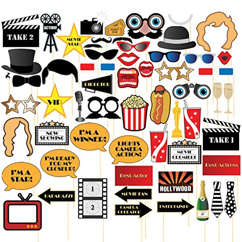 Movie Night Photo-Booth Props - 60-Pack Hollywood Party Selfie Photo Props Accessories, Birthday Party Supplies on Bamboo Sticks, Assorted Designs -