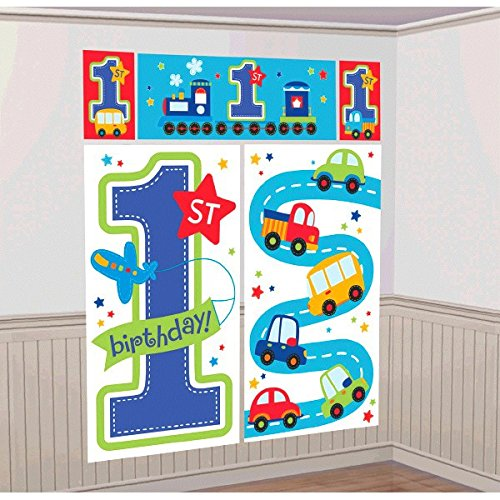 Chugging All Aboard 1st Birthday Party Scene Setters Wall Decorating Kit  , Blue, Vinyl , 59