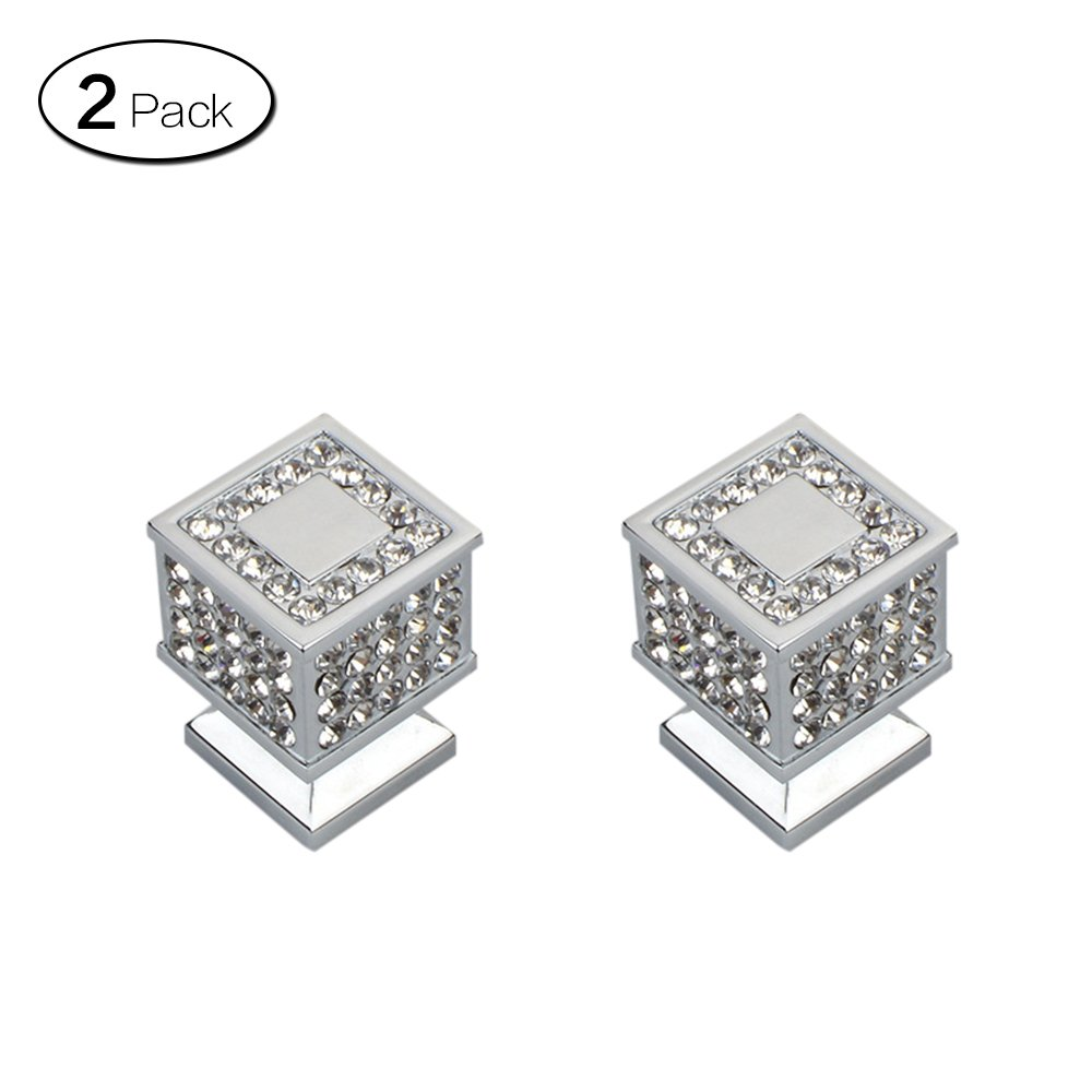 Zhi Jin 2Pcs Square Crystal Cabinet Knob Handle Bling Drawer Knobs Pulls Furniture Decoration Silver by ZHI JIN (Image #1)