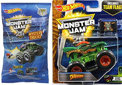 2017 Hot Wheels Monster Jam Green Dragon with Team Flag #1 + Hot Wheels MONSTER JAM Mini Mystery Trucks Blind Bags (Series 1)